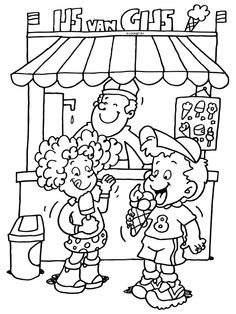 Kleurplaat IJs van Gijs - ijssalon - ijsjes - Kleurplaten.nl Colouring Pages, Coloring Pages For Kids, Coloring Books, Kids Learning Activities, Summer Activities For Kids, Drawing For Kids, Art For Kids, Projects For Kids, Crafts For Kids