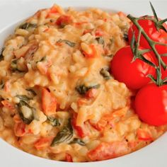 Creamy Goat Cheese Risotto Recipe2 shallots (thinly sliced) 1/2 red pepper (diced) 4 sliced mushrooms 2 garlic cloves (minced) 2 cups baby spinach (fresh) 6 sun dried tomatoes (big, chopped) 1 cup white wine 2 cups chicken broth 1 cup risotto 14 ozs diced tomatoes (drained) 140 grams goat cheese 1/2 cup parmesan (grated) 1 tbsp butter