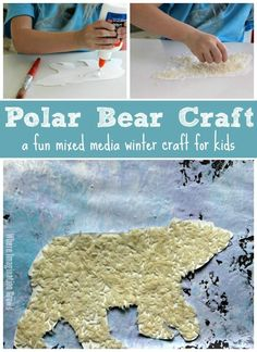A fun mixed media polar bear craft for kids! A hands-on winter craft for preschoolers! Use paint and rice for a fun art project your kids will love!  #kidscrafts #kidsactivities #Wintercrafts
