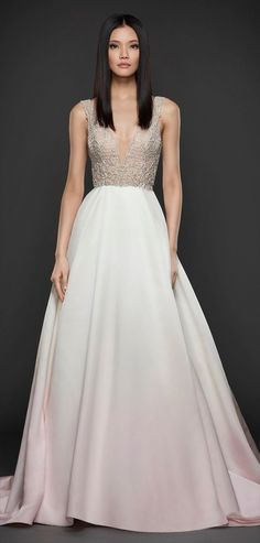 Blush ombre satin A-line bridal ball gown, V neckline front and back, crystal lattice bodice, natural waist, chapel train.