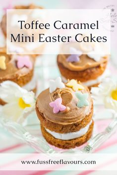These adorable mini toffee caramel flavoured cakes are perfect for Easter. You will need sugar, eggs, fliur, carob syrup and buttercream to make these impressive holiday treats | easy easter dessert| best easter dessert| #easter Mini Egg Recipes, Easy Easter Recipes, Easy Easter Desserts, Homemade Desserts, Cupcake Recipes, Cupcake Cakes, Dessert Recipes, Cupcakes, Real Food Recipes