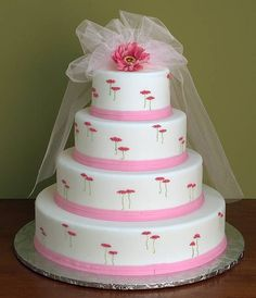 Pink Wedding Cakes Ideas | 4 Tiered Wedding Cake With Flowers And Lace Tulle