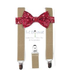 Red bow Tie, Khaki Suspenders, Cowboy Bow Tie, Western Party, Toddler Suspenders, Ring Bearer, Page Boy Braces, Baby, Child, Kids, Birthday