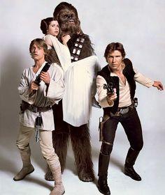 O elenco de Star Wars Episódio IV: Uma Nova Esperança  (1977).