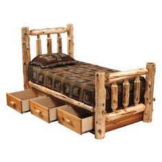 Cedar Traditional Log Bed with Underbed 3 Drawer Dressers - Queen