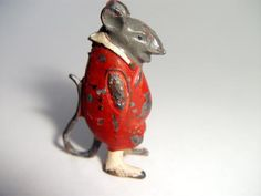 ANTIQUE COLD PAINTED SPELTER MOUSE FIGURE c1900 MINIATURE MOUSE SCULPTURE FIGURE | eBay