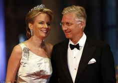 Royal affair: Belgiums Crown Prince Phillipe and Princess Mathilde arrive for a banquet hosted by the Dutch Royal family at the Rijksmuseum, Amsterdam this evening