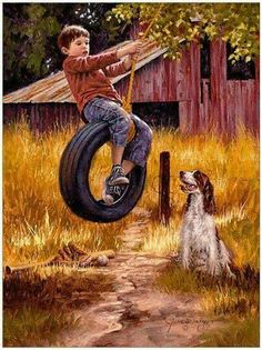 Jim Daly - Carefree Days - Complete colection of art, limited editions, prints, posters and custom framing on sale now at Prints. Norman Rockwell, Pin Ups Vintage, Retro Vintage, The Animals, Robert Louis Stevenson, English Springer Spaniel, Country Art, Country Life, Belle Photo