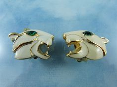 By Sphinx Of England Enamel & Gold Tone Leopard Earrings Mint