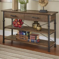 Industrial and rustic, this HomeVance Derry console table has stunning style. Sofa Table Decor, Sofa Tables, Wood And Metal, Solid Wood, Traditional Console Tables, Retro Renovation, Wood Slab, Open Shelving, Cool Furniture