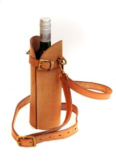 Leather Wine Bottle Carrier by TimsSatchels on Etsy