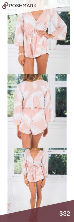White Fox Boutique Romper / Playsuit NWT and never worn. Size XS which for this brand could also fit a size small. Originally $65 plus $15 shipping from Australia.  More salmon colored than shows in the first three pictures. Can be dressed up with wedges, casual with sandals or as a beach cover up! Adorable and versatile, boho chic  Reverse Pants Jumpsuits & Rompers