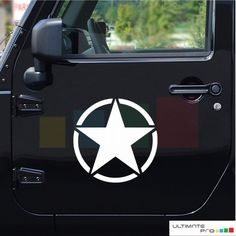 2x white star decals/ stickers for Jeep Wrangler