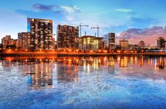 2020 Colorful Downtown Montreal Cityscape at Sunset Stock Image Royalty Free Pictures, Royalty Free Stock Photos, Stock Imagery, Sunset Images, Pixel Image, Water Reflections, Us Images, Image Photography, New York Skyline