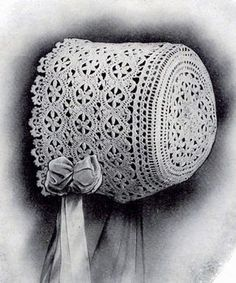 Lace Baby Bonnet PDF Vintage Crochet pattern Edwardian era antique