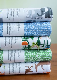 Organic Baby Blanket and Set of Two Burp Cloths in FOREST CRITTERS. $57.50, via Etsy.