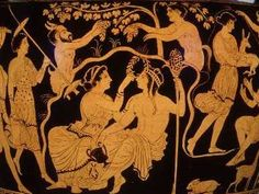 The fairy court as Dionysian thiasos- maenads, usually with thyrsus.Other regulars of the retinue were various nature spirits, including the sileni, phalluses (often erect) much in evidence, satyrs, and Pan. The tutor of Dionysus is represented by a single aged Silenus. Ariadne sometimes rides with Dionysus as his consort.
