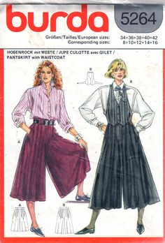 Burda 5264 1980s  Misses Pleated Wide Leg Culottes and Tuxedo Style V neck Vest womens vintage sewing pattern by mbchills
