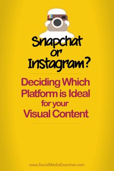 Is visual content part of your social media marketing? Snapchat and Instagram share the same basic purpose. While many businesses want to know which is better for marketing, the truth is both have value. In this article you'll find insights to help you de