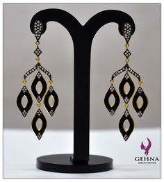 Beautiful Black Enamel Work Sterling Silver Earrings. Contact Us At: gehnastore@gmail.com