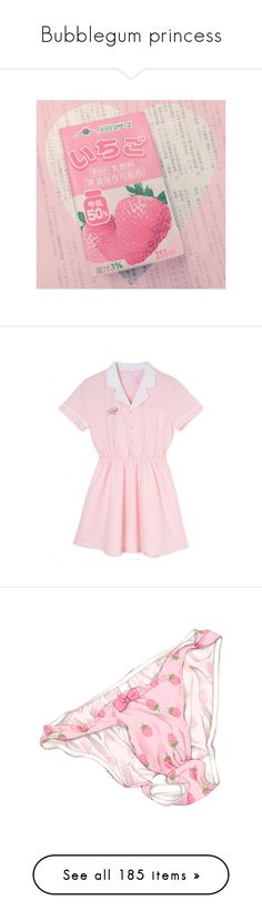 """""""Bubblegum princess"""" by bubblegumbae ❤ liked on Polyvore featuring Pink, doll, kawaii, strawberry, schoolgirl, food, pictures, pictures - pink, backgrounds and dresses"""