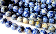 36 Sodalite gemstone beads 8mm blue stone by GatheringSplendor