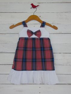Girl's Up-Cycled Dress Size 3T Red White & Blue Plaid