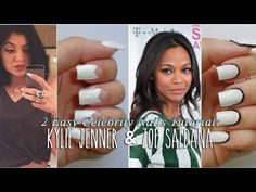 Celebrity inspired nails: Kylie Jenner and Zoe Saldana. Zoe Saldana, Inspirational Celebrities, Nail Tutorials, Nail Tech, Kylie Jenner, Nail Polish, Celebrity, Nail Art, Inspired