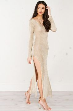 NIGHT OF OUR LIVES LONG SLEEVE DRESS(Get the Look at www.shopakira.com) #dress #slit #golddress #gown #cutedress   #OOTD #OOTN #outfits #Style #Fashion #ShopAkira