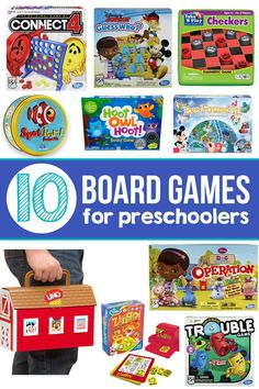 A phenomenal resource of the best board games for preschool aged kids to play and learn. Preschool Board Games, Board Games For Kids, Family Board Games, Games For Toddlers, Kids Board, Activity Games, Fun Games, Preschool Activities, Preschool Learning