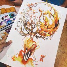 Artwork by @jongkie #inked #ink #inkedone #watercolor #paint #paintart #painting #colors #colorart #animal #fantasy #fanart #draw #drawing #art #arts #artwork #artgallery #artcollective #watercolorpainting #watercolorart