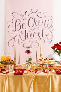 Disney-themed bridal shower idea - Beauty and the Beast-Inspired dinner party idea perfect for a bridal shower {Courtesy of Brit + Co} Princess Bridal Showers, Disney Bridal Showers, Themed Bridal Showers, Birthday 60, Birthday Parties, Picnic Parties, Dinner Parties, Birthday Ideas, Disney Princess Party