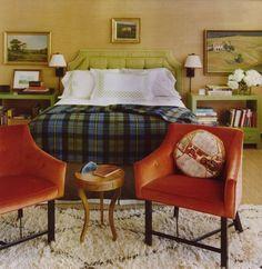 barrie benson green orange bedroom plaid throw
