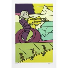 Available for sale from Galleri GKM, Valerio Adami, Fantasia per violino Silkscreen, 111 × 73 cm Keep Company, Young Prince, Don Quixote, Weird Creatures, Italian Artist, Great Words, Museum Of Modern Art, S Pic, Screen Printing