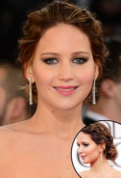 Best Beauty Looks from the 2013 Golden Globes, Jennifer Lawrence, braided updo