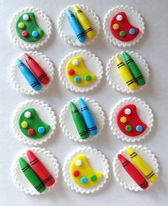 12 Fondant edible cupcake toppers - Little kids Art Party Theme. $19.95, via Etsy.