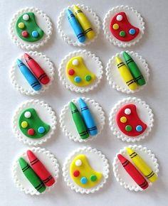 12 Fondant edible cupcake toppers - Little kids Art Party Theme. $19.95, via Etsy.