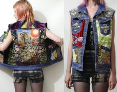 PATCH Studded CAT Jacket DENIM Vest Silver Cross Studs Pyramid Floral Applique Patches Grunge Hippie Punk Leather Tapestry Leopard xs s m l. $320.00, via Etsy.