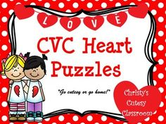 This set of 24 heart puzzles feature CVC pictures and words.   To play, students match the correct word to its matching picture.  Perfect for your Valentine literacy centers.Christy's Cutesy Classroom