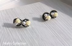 Antique Bronze Toned Silver Plated Round Studs Earrings Coloured Cocktail Cluster Crystals Crystal Clay Yellow Rose Diamante Rhinestone by NiahsCollection on Etsy
