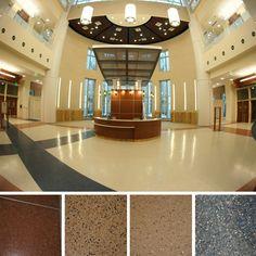 Terrazzo is a VOC free, making it ideal for hospitals like Orlando Veteran Affairs Medical Center.  www.doyledickersonterrazzo.com  #terrazzo #terrazzosamples #hospitaldesign #floordesign #flooring #design #interiordesign