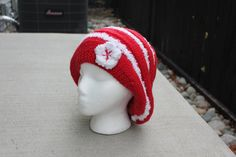 Hand Knit Beehive beret/hat Slouchy Beanie All Season Fashion Accessories/ Chunky Women Hat in red and white // Ready to be shipped TODAY by ufer on Etsy