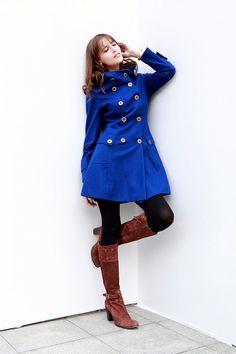 Royal Blue Jacket Hooded Coat Double breasted Hoodie Wool Coat Winter Jacket
