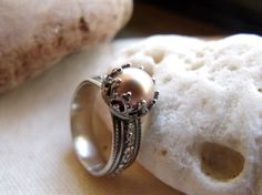Crown Pearl Engagement Ring - Sterling Silver Wide Floral Band - Peach, Mauve or White 9mm Round Pearl - Patina Finish, $74.95