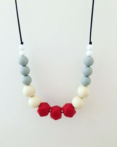 """Teething Necklace """"Dana"""", silicone, fiddle beads, breastfeeding necklace, teething jewellery, geometric, statement necklace, neutral by SebandRoo on Etsy"""