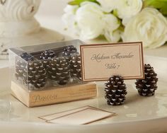 Pinecone Place Card/Photo Holders (Set of 6) double as a favor....if you did a PHOTOBOOTH -chonga