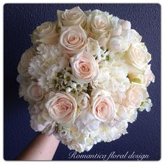 Peach and cream bridal bouquet using roses and seasonal spring blooms. Brisbane wedding flowers @romantcafloral ~ www.romantica.net.au