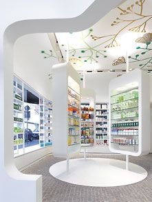 Linden Apotheke Pharmacy in Ludwisburg, Germany by Ippolito Fleitz Group Commercial Design, Commercial Interiors, Apothecary Pharmacy, Design Exterior, Perfume Store, Hospital Design, Clinic Design, Retail Interior, Modern Interior Design