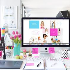 White with pops of color desk space lovin'