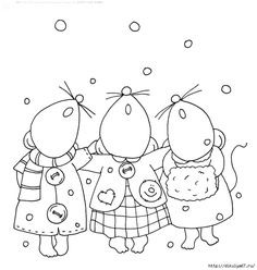 free Dearie Dolls digi stamp of mousie choir; three little friends who love to get together and sing Embroidery Applique, Cross Stitch Embroidery, Embroidery Patterns, Digital Stamps Free, Illustration Noel, Printable Christmas Cards, Christmas Drawing, Christmas Embroidery, Quilting